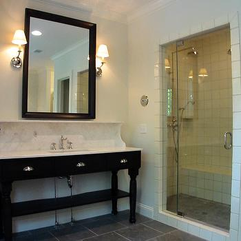 Dresser Homes - bathrooms - black beveled mirrors, beveled mirrors, black vanity, black vanity with white marble countertops, black bathroom vanity with white marble countertops,