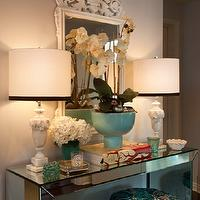 Armonia Decors - entrances/foyers - entry, foyer, mirrored parsons table, mirror, stool, alabaster lamps, mirrored table, mirrored console table, mirrored foyer table,