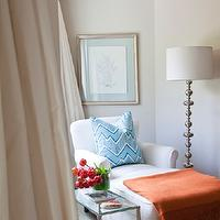 Armonia Decors - bedrooms - Benjamin Moore - Baby Fawn - chaise, bedroom, lamp, drapes, side table, throw,  Emily Ruddo - master bedroom sitting