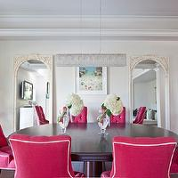 Armonia Decors - dining rooms: fuchia pink dining chairs, dining room, dining table, chandelier, floor mirrors, dining chairs, pink dining chair, pink dining chairs,