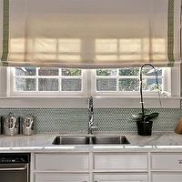 The Semi Designed Life - kitchens - white, roman shade, green, Greek key, trim, green glass tiles, backsplash, stainless steel, canisters, orchid, white, kitchen cabinets, grossgrain ribbon roman shade, grossgrain ribbon roman shades,