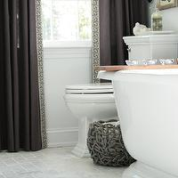 Rachel Bishop Designs - bathrooms - greek key trim, greek key trim on curtains, greek key trim on drapes, curtains with greek key trim, drapes with greek key trim, gray curtains, dark gray curtains, , Greek Key Jacquard Trim, Robert Abbey Muse - One Light Crystal Wall Sconce,