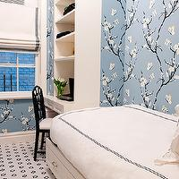 Christina Murphy Interiors - girl's rooms - girls built-in desks, built-in desks, small girls room, small girls bedroom, tiny girls room, tiny girls bedroom, cherry blossom wallpaper, blue cherry blossom wallpaper, chloe chair, twin bed, twin storage bed,