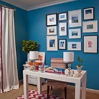 Armonia Decors - dens/libraries/offices - Benjamin Moore - Electric Blue - office, parsons desk, sofa, chevron rug, art, lamps, drapes, blue walls, blue paint, blue paint color, blue office walls, blue bedroom paint, blue office paint color,