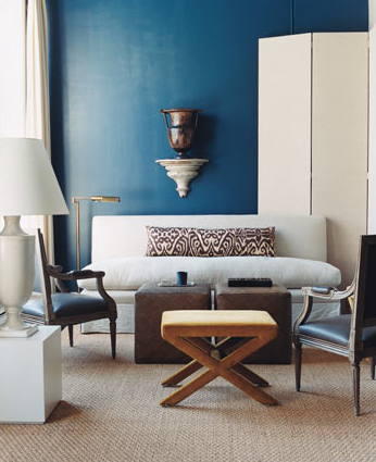 miscellaneous - Benjamin Moore - Galapagos - blue, walls, linen, settee, chocolate, brown, lumbar, pillow, sisal, rug, woven, brown, square, cube, ottomans, ivory, urn, lamp, black, leather, bergere, chairs,