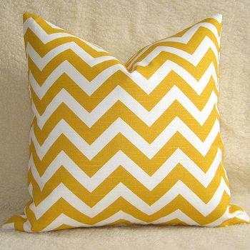 Pillows - Chevron Print Lumbar Pillow / Sunshine Yellow / by WillaSkyeHome - yellow chevron pillow
