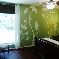 bedrooms: Green, white, brown, cherry, ginkgo, hand painted,  Green Bedroom  Hand painted the ginkgo leaves on the wall as opposed to hanging