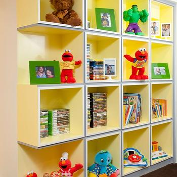 Melanie Morris Design - basements - Cubbies, toys, playroom, basement, colorful, kids cubbies, builtin cubbies, playroom cubbies, play room cubbies, toy cubbies,
