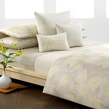 Bedding - Calvin Klein Bedding, Poppy Queen Duvet Cover Set - Duvet Covers - Bed & Bath - Macy's - calvin klein, poppy, yellow, gray, duvet, bedding