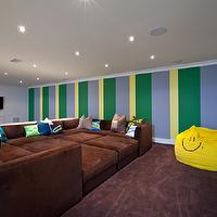 "Feathered Nest Interiors - basements - ""pit"" like sofa, beanbag, stripes, television, media,  This is a modular sofa designed for the whole family"