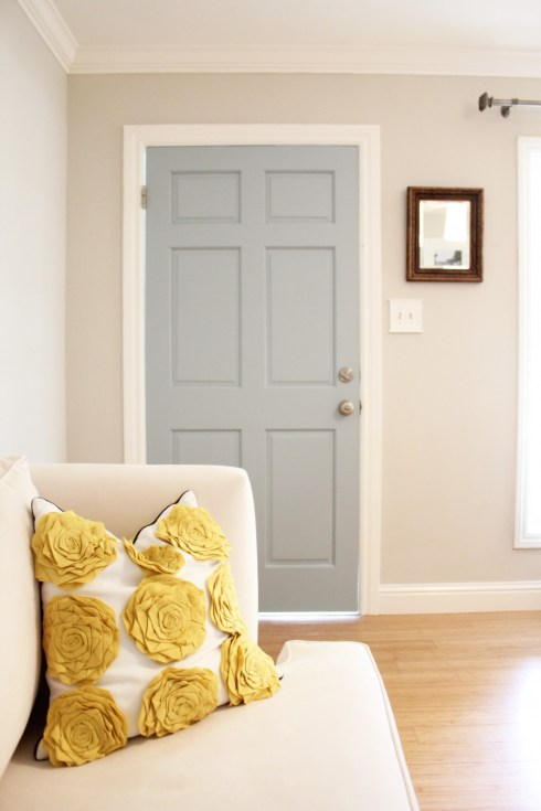 346 Living - entrances/foyers - Benjamin Moore - wedgewood gray - gray door, gray front door, target pillow,  Walls: Revere Pewter 50% formula.