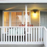 346 Living - porches - Benjamin Moore - sage mountain - Blue door, gray door, blue roof, white picket fence, bench, trellis pillows, grey, painted door,