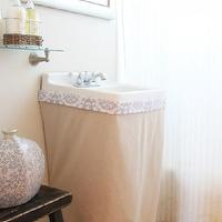 346 Living - bathrooms - sink skirt, rustic, stool, vase, mirror, guest, bathroom, diy, chrome, L&R Vintage, L and R vintage, beach,  Guest bedroom