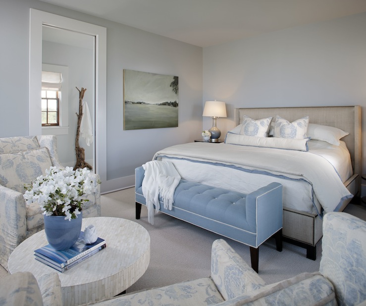 Summer House Style - bedrooms - blue, walls, linen, modern, wingback, bed, nailhead trim, blue, tufted, settee, bench, white, piping, white, floor mirror, mosaic, glass tiles, round, cocktail table, blue, floral, chairs,
