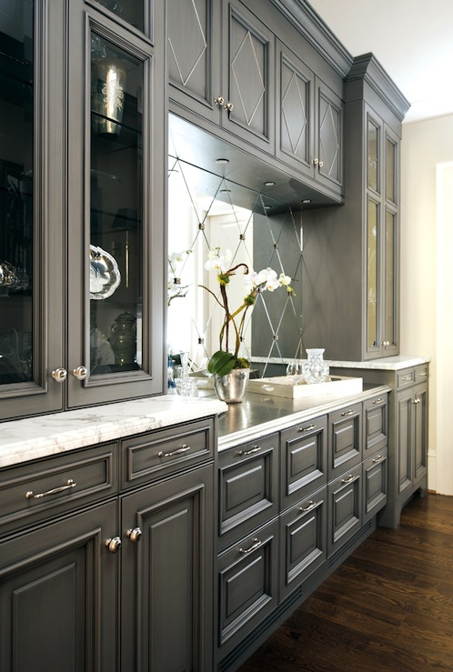 Gray kitchen cabinets transitional kitchen atlanta for Charcoal painted kitchen cabinets