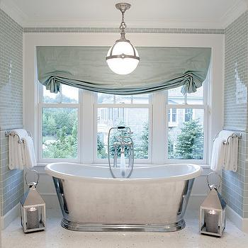 Mabley Handler - bathrooms: turquoise bathroom, turquoise blue bathroom, turquoise subway tiles, turquoise roman shade, turquoise blue roman shade, candide tub, waterworks bathtub, bathroom lanterns, pendant over bathtub,