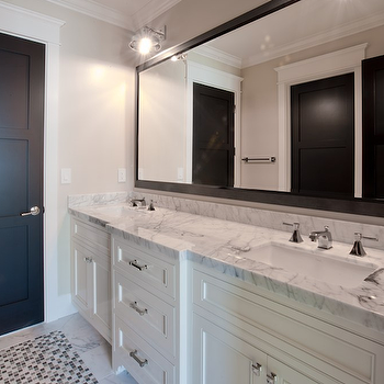 Spinnaker Development - bathrooms - black mirror, black bathroom mirror, black framed mirror, framed mirror, white bathroom vanity with black mirror, double bathroom vanity, white double vanity, black door, mosaic tile, mosaic tile floor, mosaic tiled bathroom floor, mosaic tile bathroom,