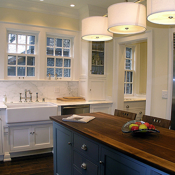 Cream City Construction - kitchens - blue center island, blue kitchen island, butcher block countertop, two tone countertops,  Beautiful two
