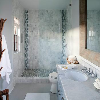 Summer House Style - bathrooms - blue mosaic tiles, blue mosaic tile shower, blue mosaic tile shower surround, blue mosaic shower surround, beach bathroom, beach cottage bathroom, uncertain gray, gray cabinets, gray vanity, gray washstand, Sherwin Williams Misty,
