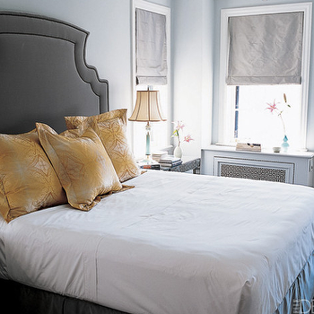 Nate Berkus Design - bedrooms - roman shades, yellow and gray bedroom, gray and yellow bedroom, gray and yellow bedrooms, yellow and gray bedroom design, gray and yellow, yellow and gray, gray roman shade, yellow pillows,