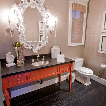 Spinnaker Development - bathrooms - white mirror, white baroque mirror, baroque mirror, orange vanity, orange bathroom vanity, orange and black vanity, grasscloth in powder room, powder room grasscloth, espresso floors, espresso wood floors, wood floor sin powder room, Horchow Baroque Mirror,