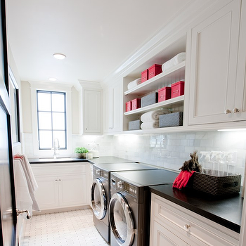 Spinnaker Development - laundry/mud rooms - black washer and dryer, laundry room, laundry room ideas, black and white laundry room, laundry room shelving, laundry room shelves,