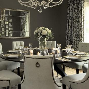 Vallone Design - dining rooms - gray dining room, gray dining room walls, round dining table, espresso dining table, tufted dining chairs, cream dining chairs, dining table seats 8, round dining table seats 8,