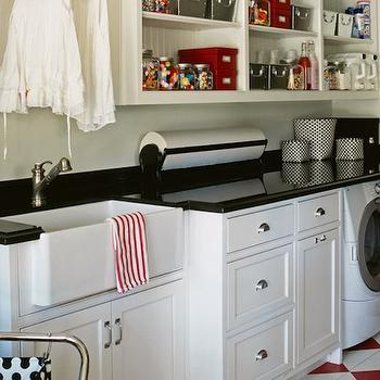 DeCesare Design Group - laundry/mud rooms - laundry room, laundry room ideas, laundry room cabinets, laundry room shelving, laundry room shelves, laundry room sink, checkered floor, white and red checkered floor,