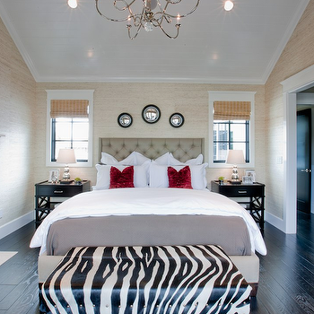 Spinnaker Development - bedrooms - zebra bench, bench at foot of bed, tufted headboard, black nightstands, grasscloth, grasscloth wallpaper, red pillows, black wood floors, black convex mirrors, Horchow Brea Bed,
