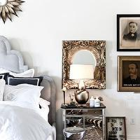 bedrooms - black, marble, top, mirrored, nightstand, cheetah, rug, pewter, gourd, lamp, blue, bed, headboard, white, monogrammed, bedding, blue, shams, gold, sunburst, mirror, mirror nightstands, mirrored nightstands, mirrored bedside tables,