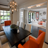 Spinnaker Development - dining rooms - orange, wingback, captain, dining chairs, linen, nailhead trim, dining chairs, wood, rectangular, dining table, seagrass, rug, dining chairs, captain chairs, dining room captain chairs, orange captain chairs, orange dining chairs, , Caviar Pendant Cluster,