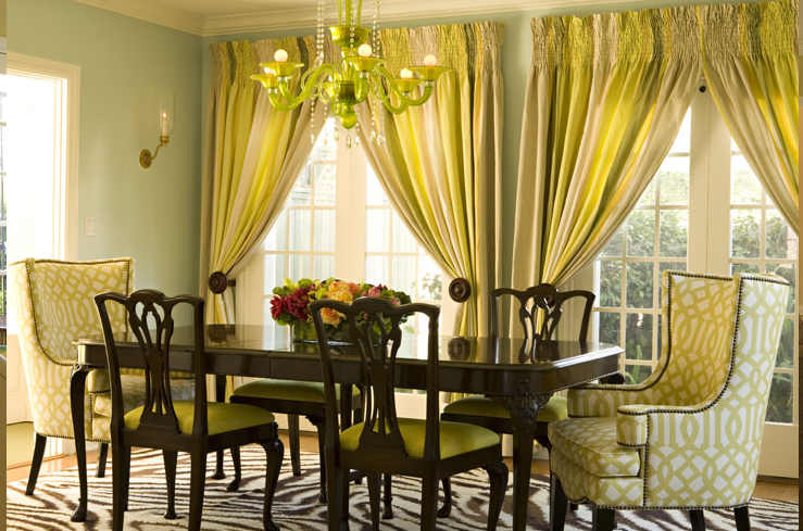 Gray yellow curtains transitional dining room for Dining room drapes