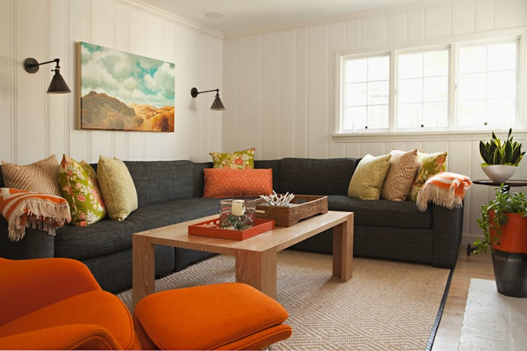Bonesteel Trout Hall - living rooms - charcoal gray sectional, dark gray sectional, linen sectional, light wood coffee table,  Fun orange & gray