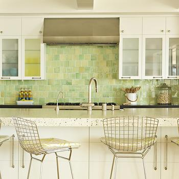 Bonesteel Trout Hall - kitchens - metal bar stools, metal counter stools, , Bertoia Barstool with Seat Pad,  Fun beachy kitchen design with white