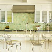 Eric Olsen Design - kitchens - metal bar stools, metal counter stools, , Bertoia Barstool with Seat Pad,  Fun beachy kitchen design with white