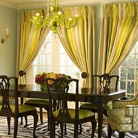 Bonesteel Trout Hall - dining rooms - wingback, captain, chairs, chippendale, dining table, chippendale, dining chairs, green, cushions, zebra, rug, chartreuse, silk, drapes, turquoise, blue, walls, lime green acrylic lucite, chandelier, gray yellow curtains, gray yellow drapes, gray yellow window panels, , Kelly Wearstler Imperial Trellis Citrine,