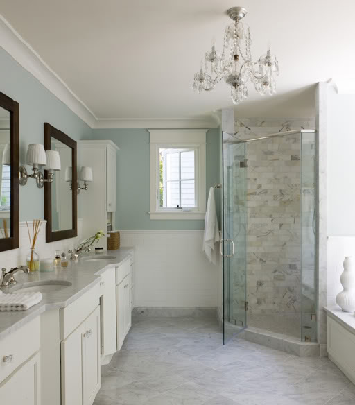 Liz Levin Interiors - bathrooms - soothing, blue walls, chair rail, subway tiles, corner shower, corner shower design, corner shower ideas,