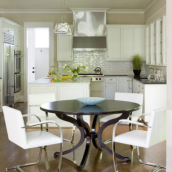 Liz Levin Interiors - kitchens - brno chairs, flat bar chairs, brno flat bar chairs white brno chairs, white brno flat bar chairs, round dining table, L shaped kitchen, Grosvenor Single Pendant,