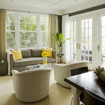 Liz Levin Interiors - living rooms - yellow and gray living room, gray sofa, yellow pillows, gray sofa with yellow pillows, gray sofa and yellow pillows, swivel chairs, upholstered swivel chairs, gray swivel chairs,