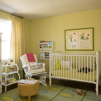 Liz Levin Interiors - nurseries - ottoman, seagrass ottoman, yellow and green nursery, jenny lind crib, white jenny lind crib,  Adorable gender