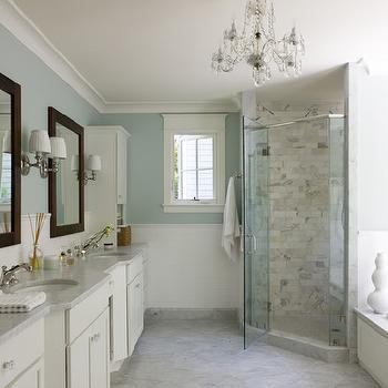 Liz Levin Interiors - bathrooms: soothing, blue walls, chair rail, subway tiles, corner shower, corner shower design, corner shower ideas,  Gorgeous