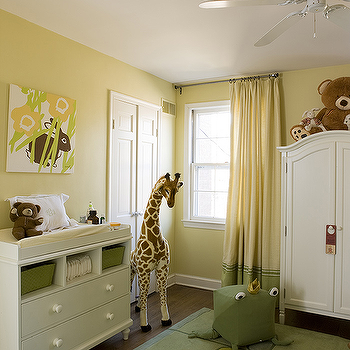 Liz Levin Interiors - nurseries - yellow and green nursery, vintage changing table, nursery armoire, armoire in nursery, two tone curtains, Melissa & Doug Plush Giraffe,