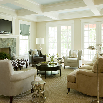 Liz Levin Interiors - living rooms - coffered ceiling, blue coffered ceiling painted coffered ceiling, , round coffee table, espresso coffee table, zebra bench, rectangular zebra bench, Arteriors Costello polished nickel side table,