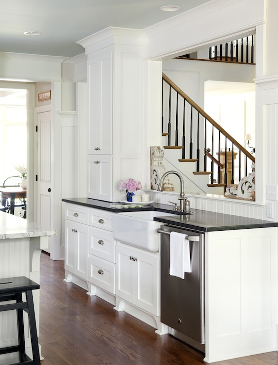 White Cabinets with Black Countertops - Transitional ...