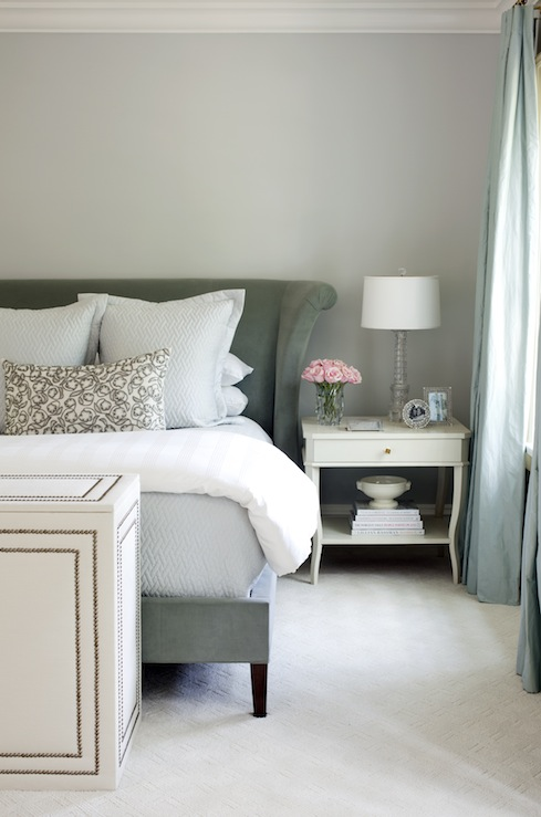 At Home in Arkansas - bedrooms - velvet headboard, wingback headboard, velvet wingback headboard, white nightstand,  At Home in Arkansas  Sophisticated