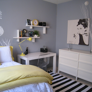 Yellow and Gray Bedroom, Contemporary, bedroom, Benjamin Moore Pigeon Gray