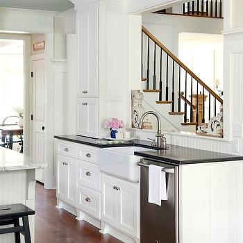 At Home in Arkansas - kitchens - farmhouse sink, white cabinets with black countertops, white kitchen cabinets with black countertops,  Beautiful