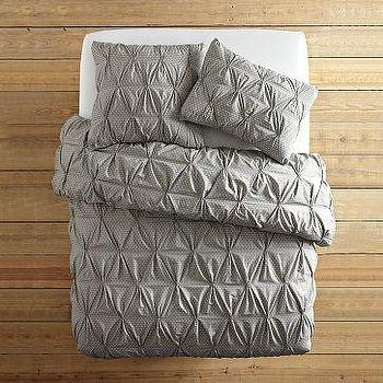 Organic Rice Pintuck Duvet Cover + Shams, west elm