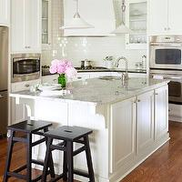 At Home in Arkansas - kitchens - black, stools, blue, painted, ceiling, white, kitchen cabinets, black, granite, countertops, white, beadboard, kitchen island, white, carrara, marble, countertop, double ovens, glossy, white, subway tiles, backsplash, white granite countertops, white granite,