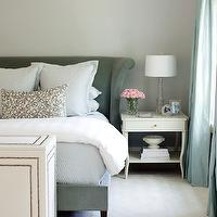 At Home in Arkansas - bedrooms - gray, lilac, walls, turquoise, blue, silk, drapes, gray, velvet, Hickory, Montauk Bed, white, traditional, nightstand, white, nailhead trim, storage, box, velvet headboard, wingback headboard, velvet wingback headboard,